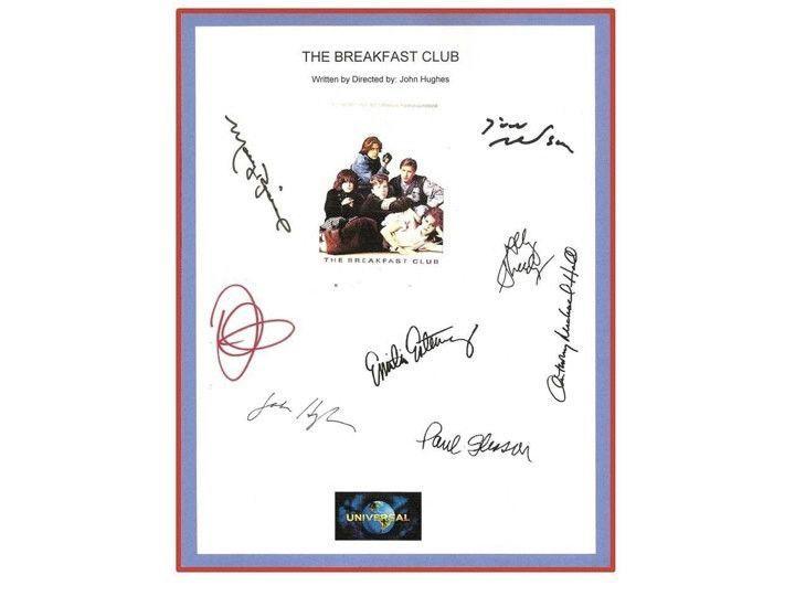The breakfast club movie script signed screenplay autographed molly the breakfast club movie script signed screenplay autographed molly ringwald emilio estevez judd fandeluxe Gallery