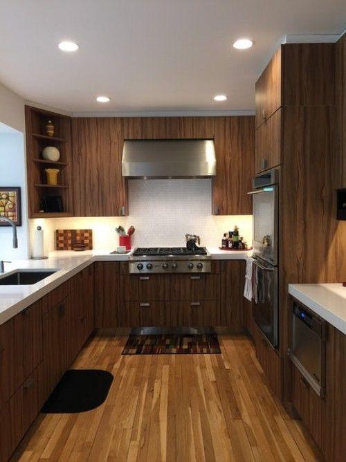 Kücheneinrichtung für länglichen Grundriss 30 Ideen