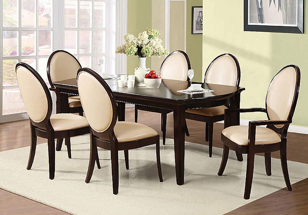 Contemporary Style 7 Pcs Dining Set Table W Leaf Beige Pu Seat