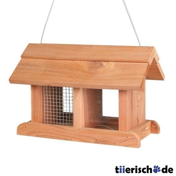 Vogelfutterhaus Zedernholz Futterstation Silo Vogelhäuschen Futterspender Holz