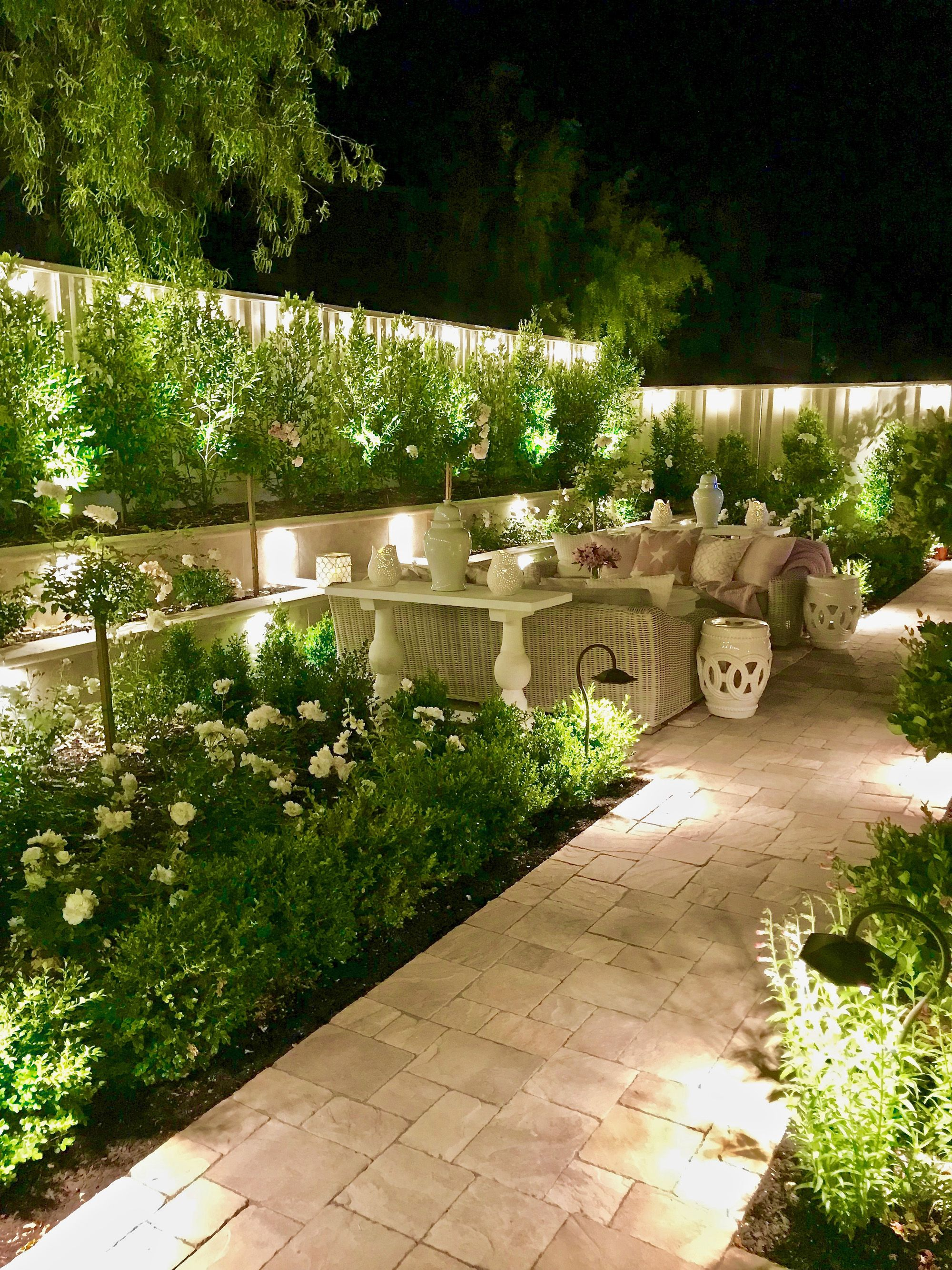 Outdoor Lighting I Linked All Of My Lighting Sources And Info Small Backyard Landscaping Backyard Garden Design Backyard Landscaping