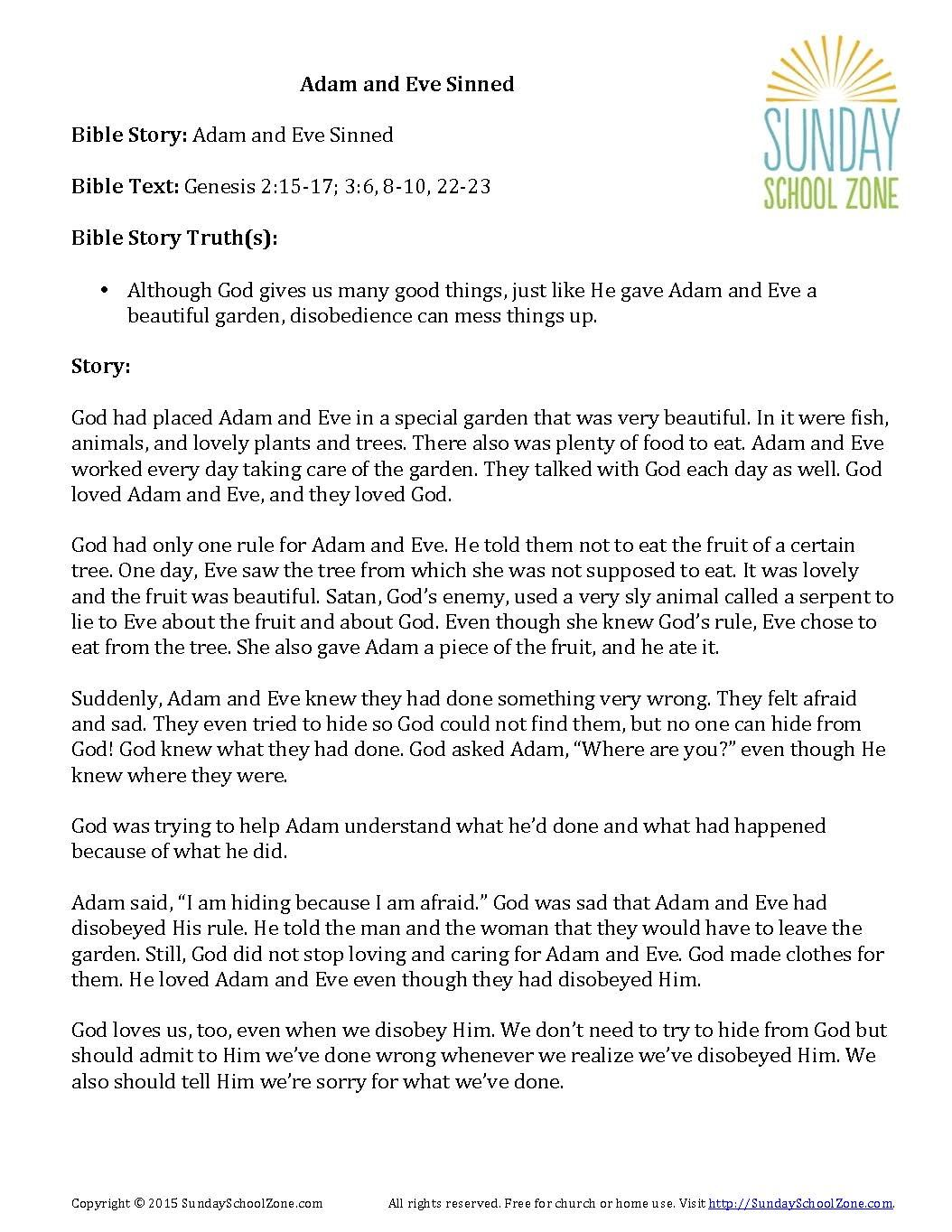 Adam And Eve Sinned Bible Story Summary