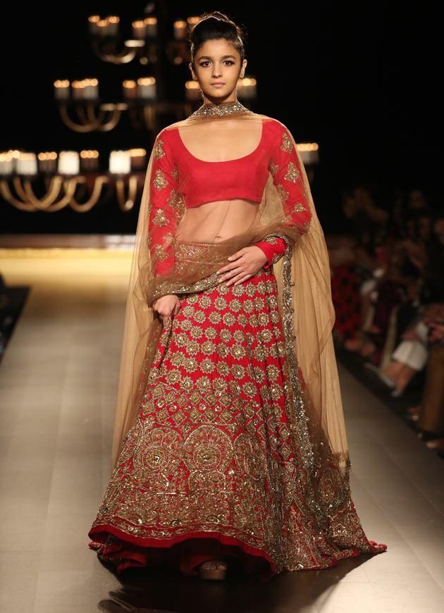 Alia Bhatt in Red Lehenga Choli by manish malhotra