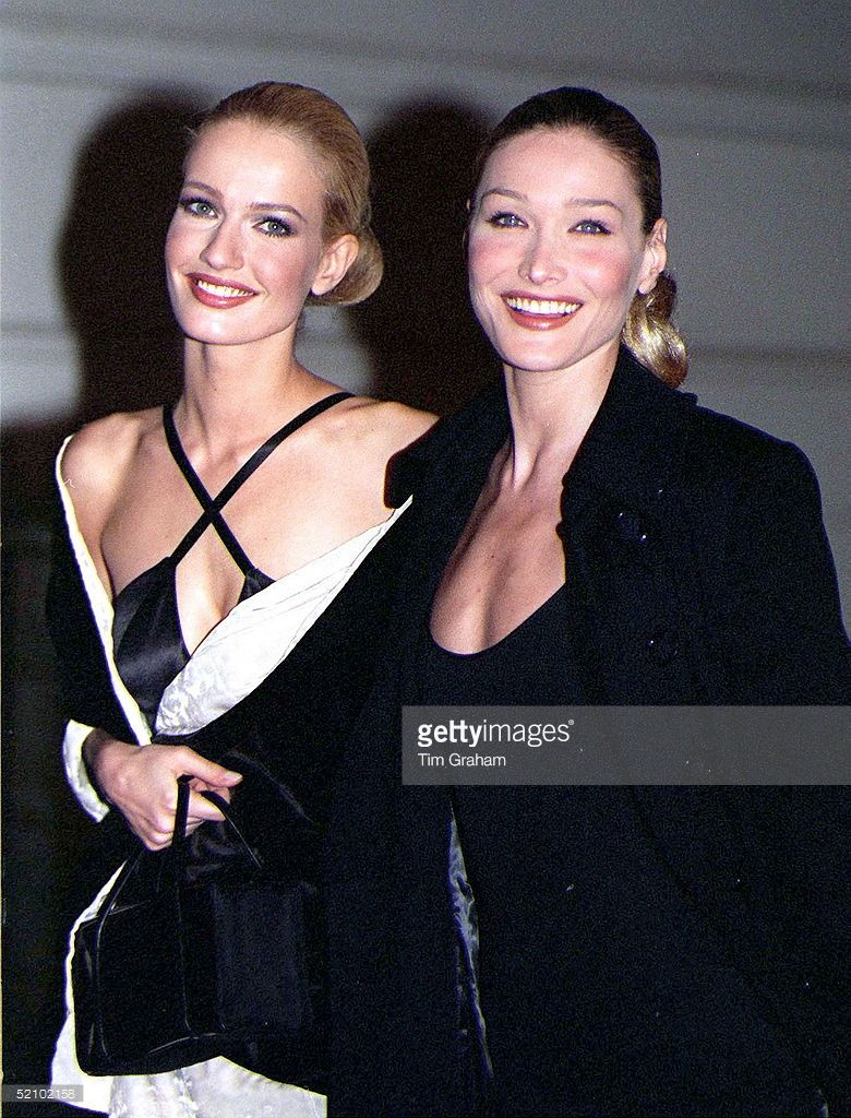 Fashion Models Karen Mulder And Carla Bruni Arriving At A Gala Evening In Aid Of…