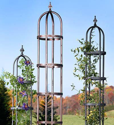 Charming Classic Decorative Powder Coated Steel Garden Obelisks Sizes: 8u0027H Obelisk  Is 14