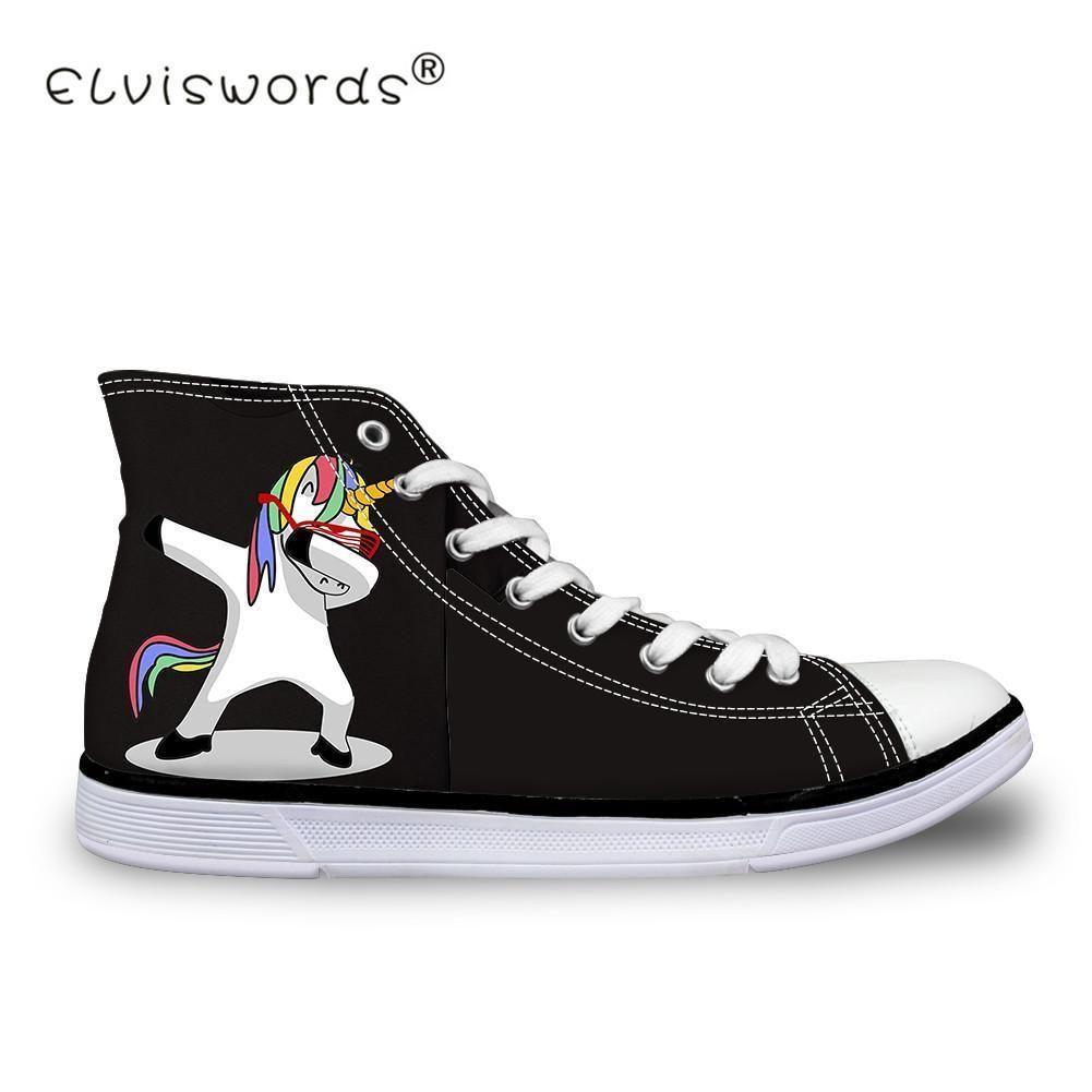 144d8ea44aa0 ELVISWORDS Cartoon Dab Unicorn Panda Print Women Canvas Shoes Hip Hop  Casual Walking Shoes Girls Ladies
