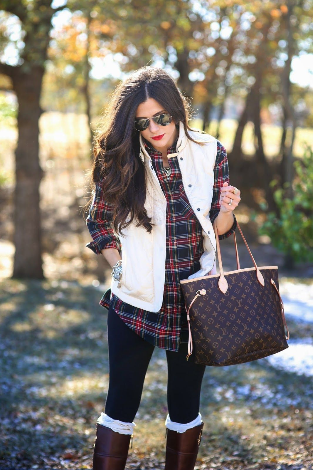 Flannel shirt and leggings  plaid vest leggings and riding boots Not my usual style but I