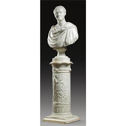signed:  BARTOLINI F  White Carrara marble, on an elaborately carved marble column by Lorenzo Bartolini