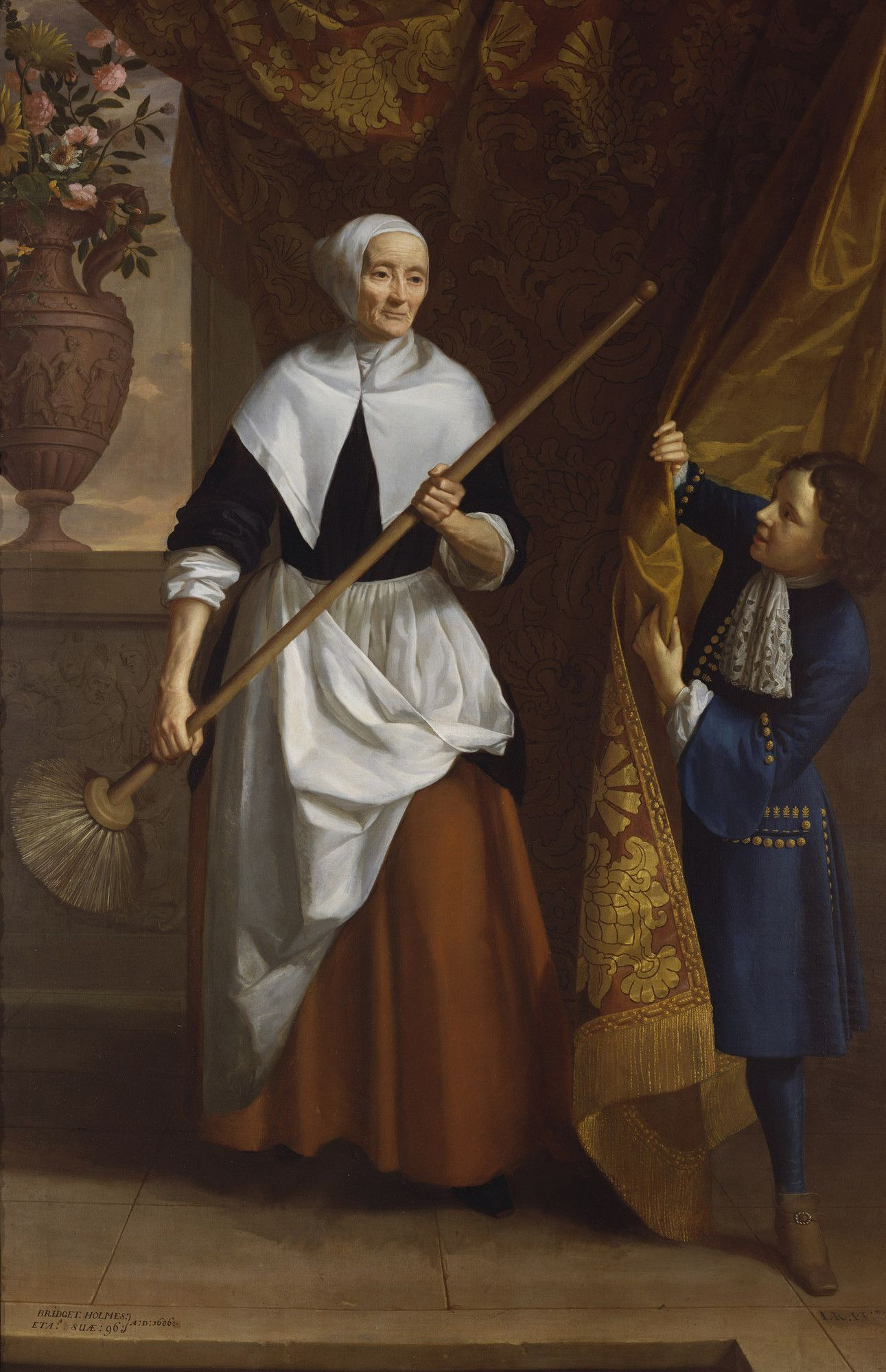 Bridget Holmes (1591-1691), an elderly servant in the Royal household ~ check out the shoes on the little pageboy