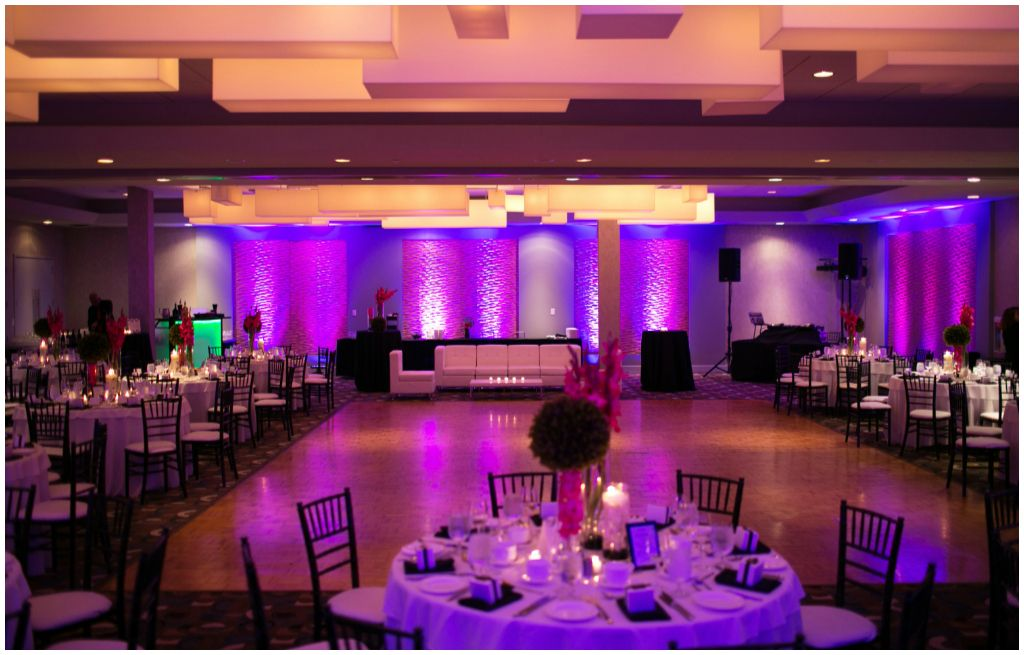 Modern Purple And Pink Wedding At The Matrix Hotel Edmonton Edmonton Wedding Wedding Reception Tablescapes Pink Wedding Inspiration