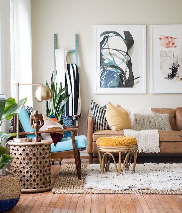 Mid Century Dining Room Plants: Brown Leather Sofa