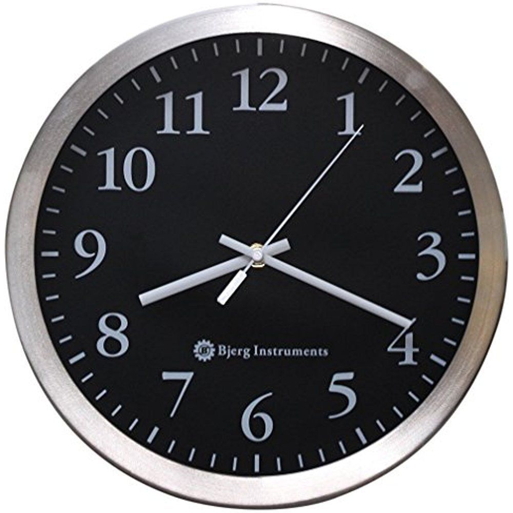 Bjerg Instruments Modern 12 Stainless Silent Wall Clock With Non