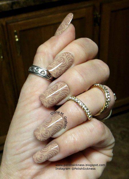 Neutral stamped Nails in Nude  #nails #nailart #nudepolish #brown - bellashoot.com