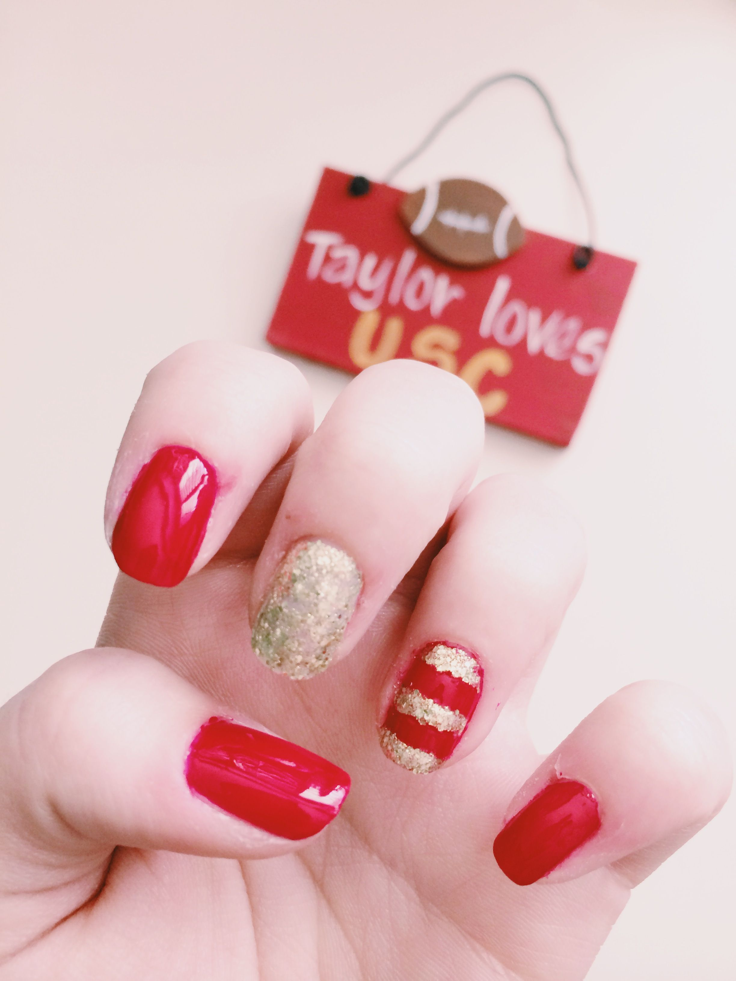 USC Trojan Gameday Inspired Nail Polish // Red + gold nail polish + ...