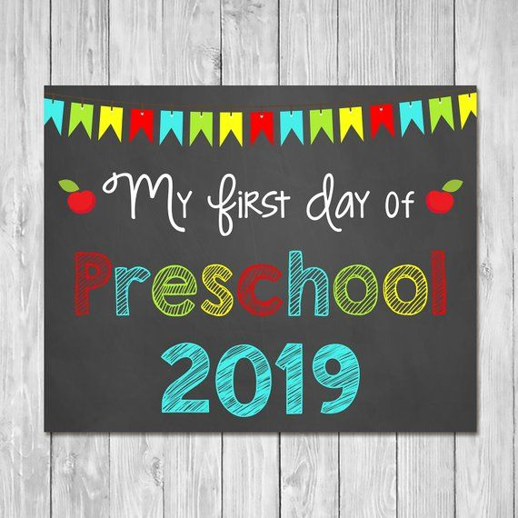 photograph relating to Last Day of Preschool Sign Printable referred to as To start with Working day of Preschool 2019 Chalkboard Indication Printable Image