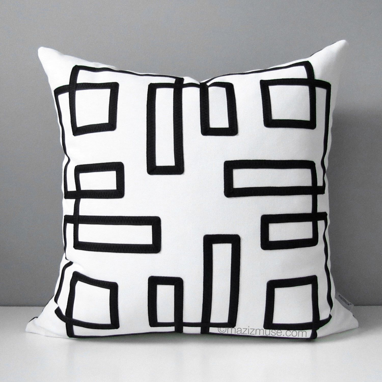 Black White Outdoor Pillow Cover Decorative Pillow Case Trellis