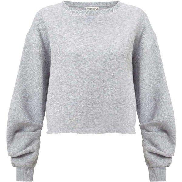 84f9e7b925b Miss Selfridge Grey Ruched Sleeve Crop Sweatshirt ($49) ❤ liked on Polyvore  featuring tops, hoodies, sweatshirts, grey, miss selfridge, cropped  sweatshirt, ...