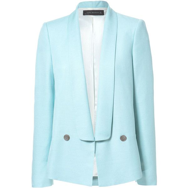 Zara Tuxedo-Style Blazer (155 ILS) ❤ liked on Polyvore featuring outerwear, jackets, blazers, blazer, zara, coats, pastel blue, tux jacket, zara blazer and tuxedo jacket