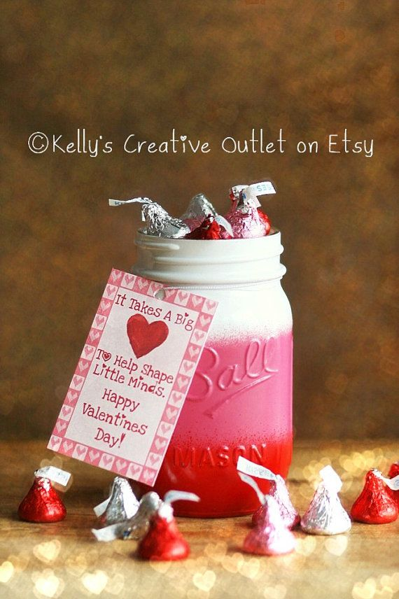 Valentines Decor Teacher Gift Teacher Mason Jar Teacher