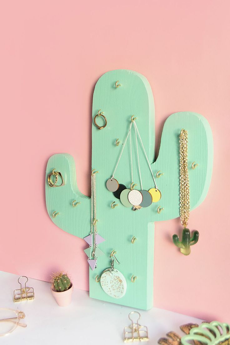 Photo of DIY jewelry holder or chain holder in cactus shape easily made of wood …