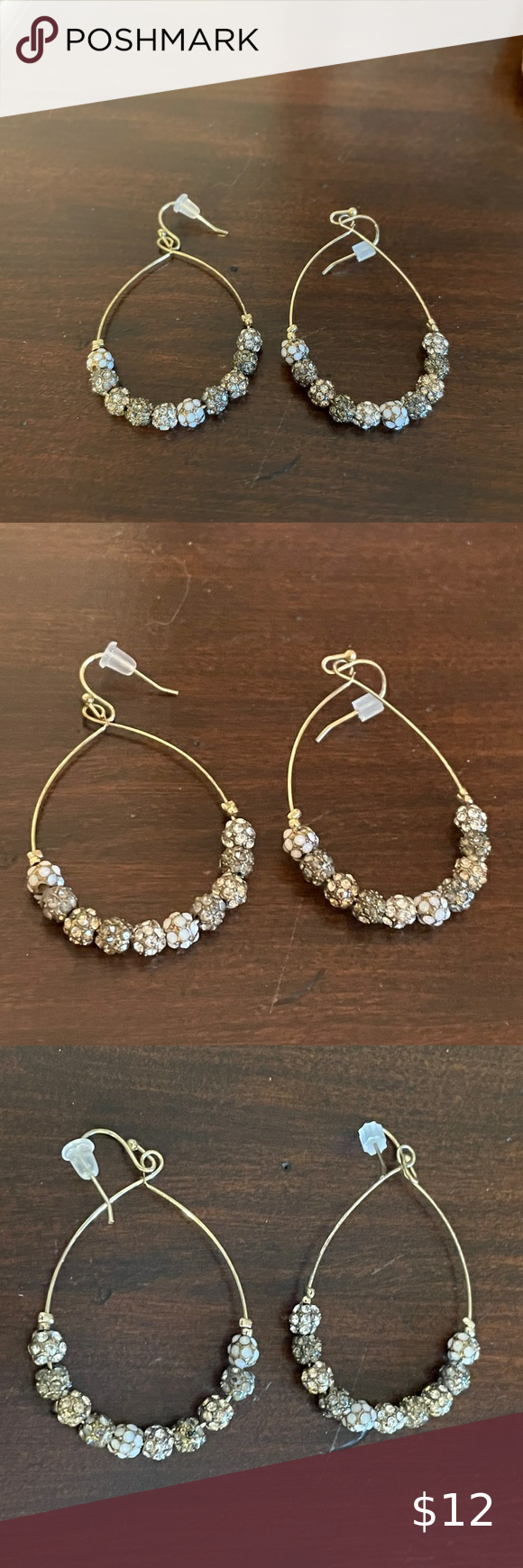 Jeweled beaded drop hoop earrings Check out this l
