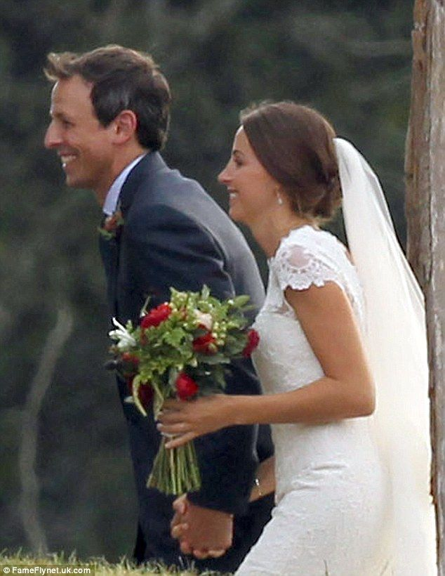 Josh Meyers Porn - Just for laughs: Comedian Seth Meyers appeared in a jovial mood as he wed  his