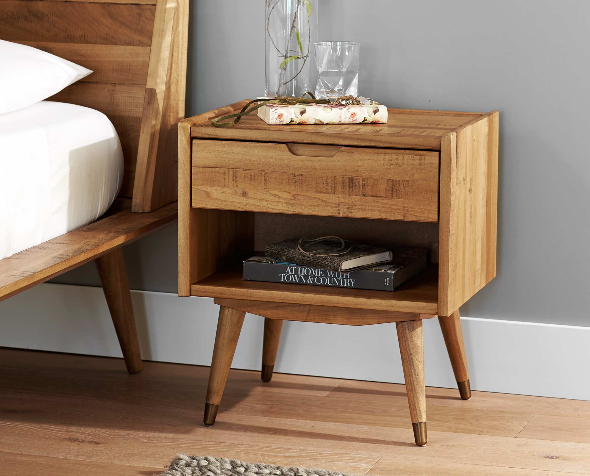 Scandinavian Designs   Crafted from solid poplar with a natural stain  the  Bolig nightstand features. Scandinavian Designs   Crafted from solid poplar with a natural