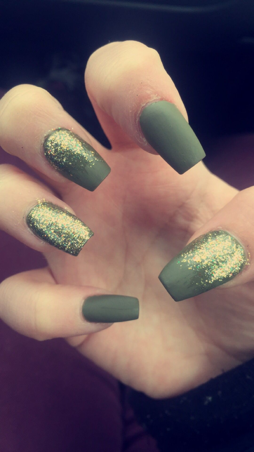 Olive Green Matte & Gold Sparkle Squaffin ( Square/Coffin ) Style ...