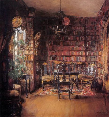 """The library of Thorval Boeck"" by Harriet Backer (Norwegian Impressionist Painter, 1845-1932)"