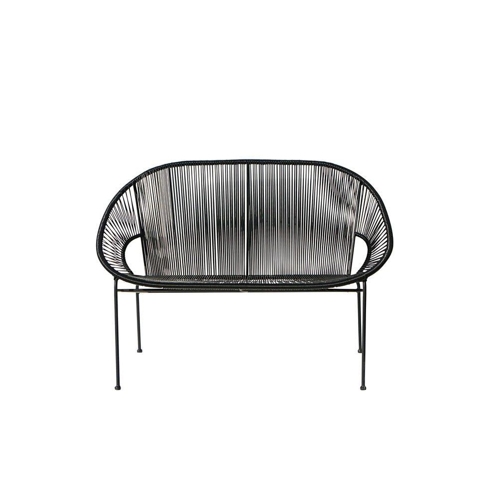 Stapelbare Gartenbank 2/3 Sitzer Aus Kunstharz Gewebe Und Schwarzem Metall  | Garten
