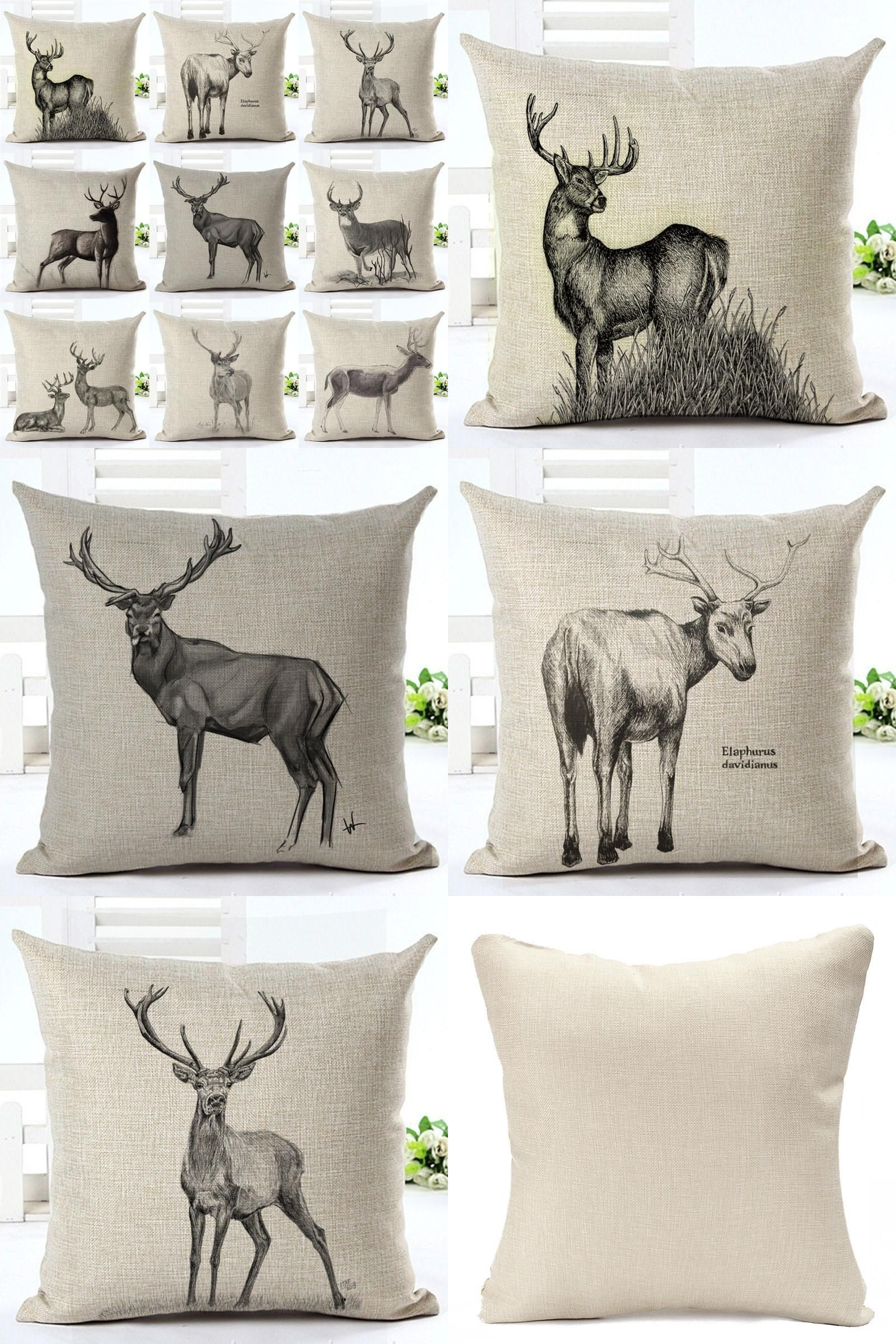pillows throw red festive covers chenille x itm deer designs christmas xmas cushion pillow reindeer