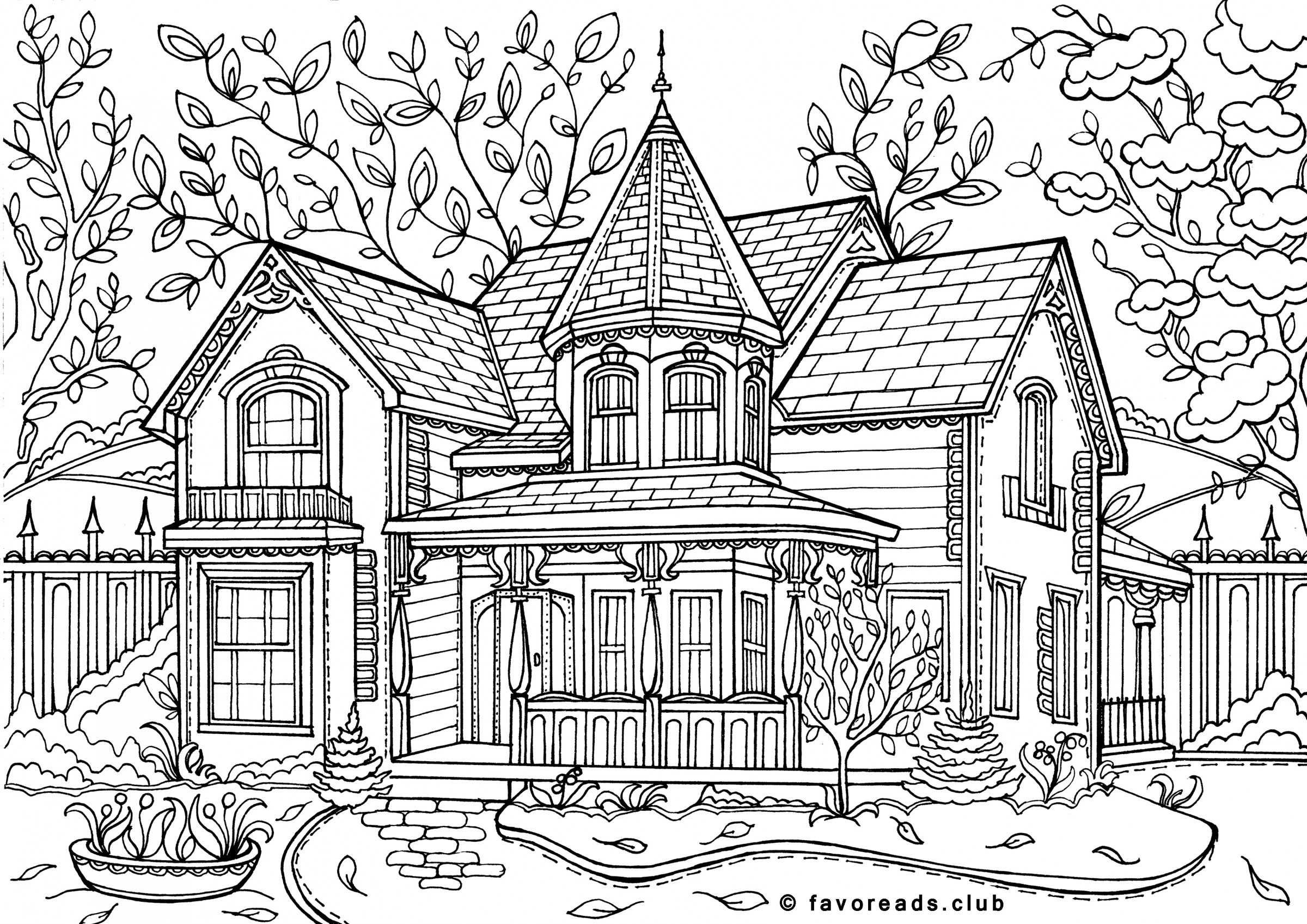 Pin by Graeme on Drawing | House colouring pages, Adult ...