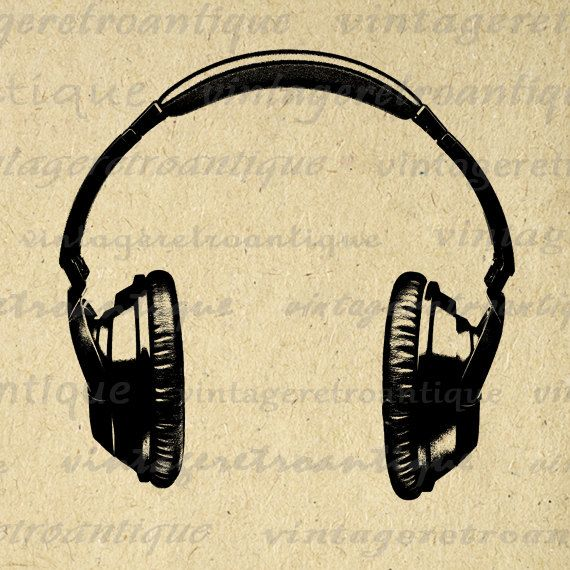 Digital Printable Headphones Graphic Music Illustration Headphones ...
