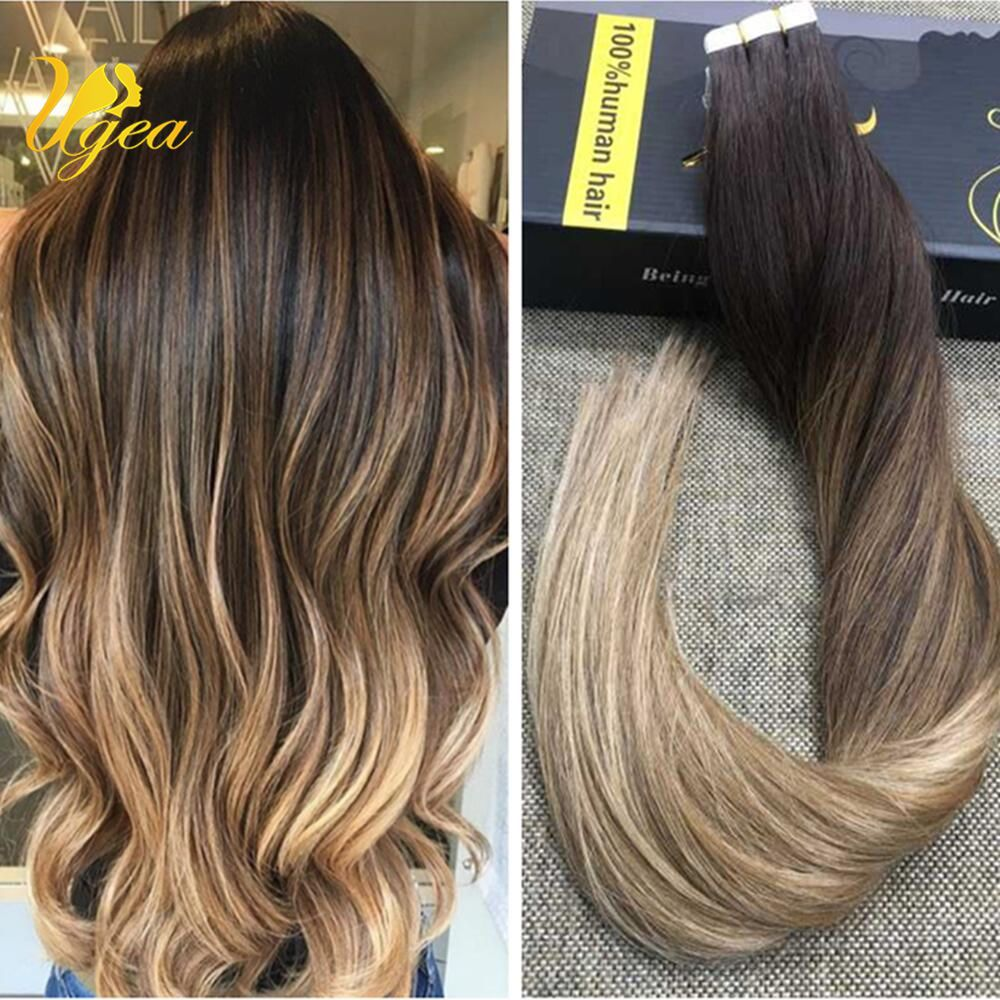 Ombre Balayage Brazilian Darkbrown Ash Blonde Remy Tape In Human