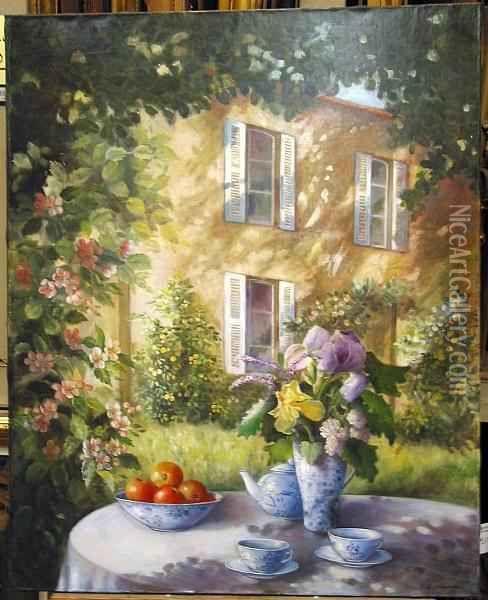 The Pour Deaux Au Jardin Oil Painting - Fabrice De Villeneuve | Art ...