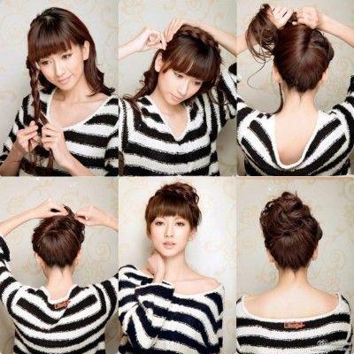 Bun With A Braid Thick Hair Styles Hair Styles Long Hair Styles