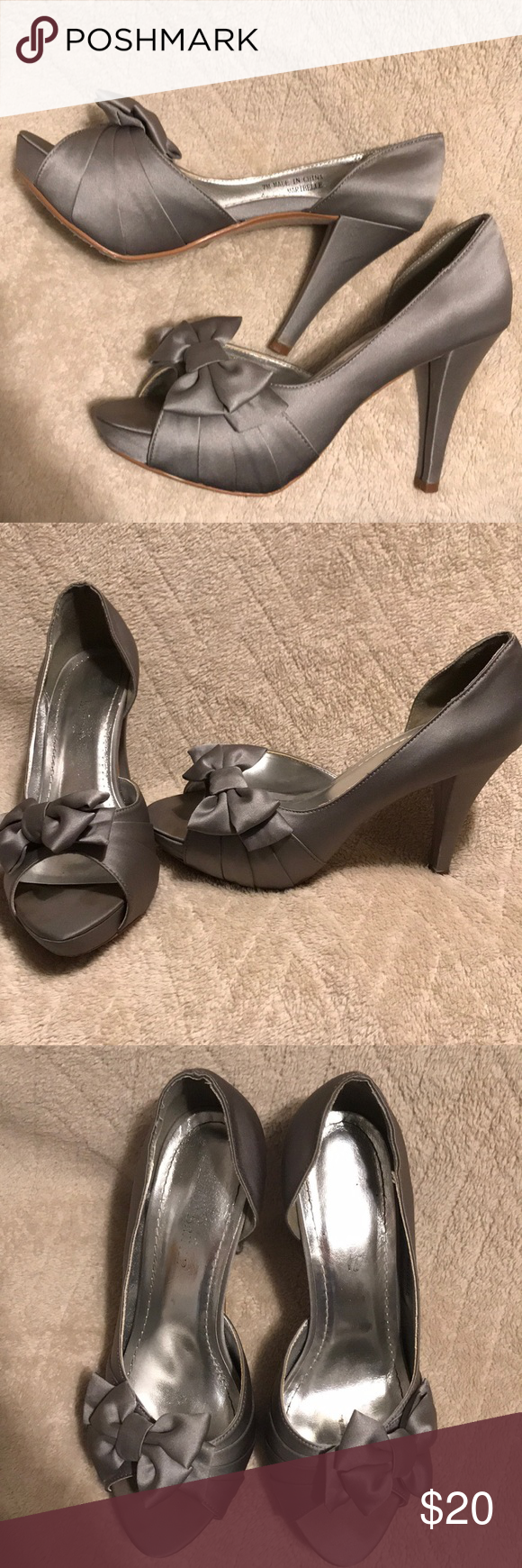 1430584f353a David s Bridal silver bow high heel Satin Peep Toe Platform High Heel with  Bow Detail. From David s Bridal. Size 7. Silver color. Used for two  weddings.