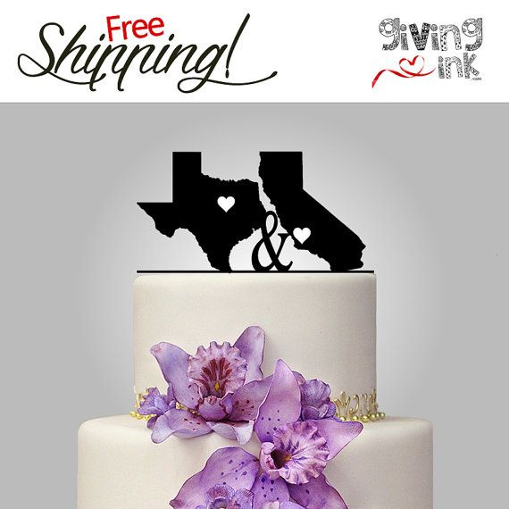 Texas California State Shaped Cake Topper State Of The Art Wedding Cake Top On Etsy