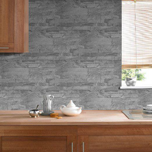 Vlies Tapete Steinwand anthrazit grau steinoptik klinker 33-071 - tapete steinoptik wohnzimmer