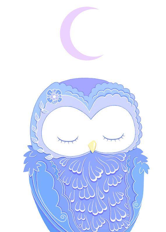 Pretty Purple Owl Under a Sleepy Moon Greeting Card by Faunadesigns $4.50