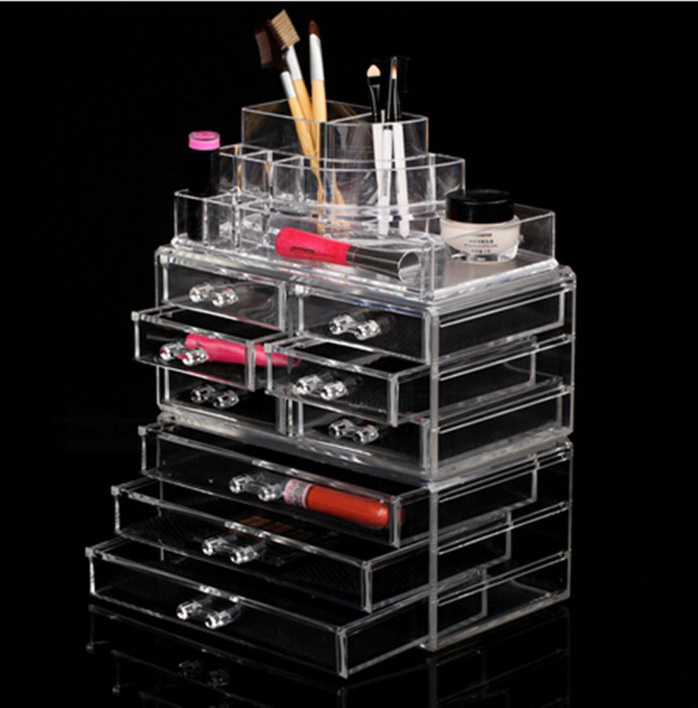Clear Acrylic Cosmeticanizer 4 Drawers Makeup Case Storage Holder Box Oy