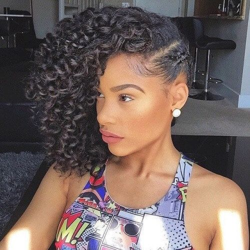 Naturally Curly Hairstyles With Side Braids Natural Hairstyles