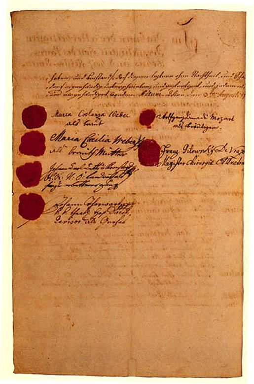 Mozart and Constanzeu0027s marriage contract of August 3, 1782 The - marriage contract