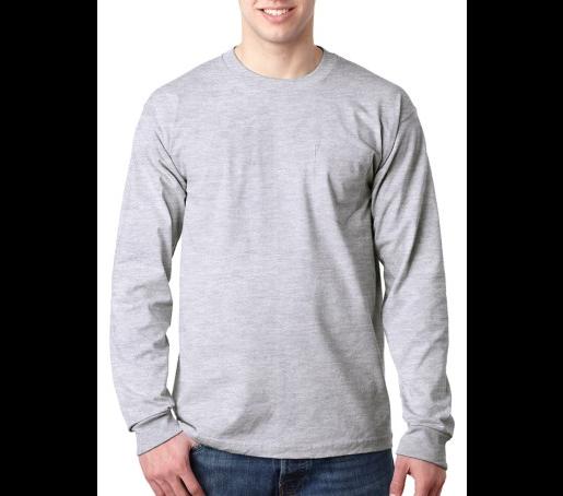 Bayside Long Sleeve T Shirt With Pocket Mens Long Sleeve Tee