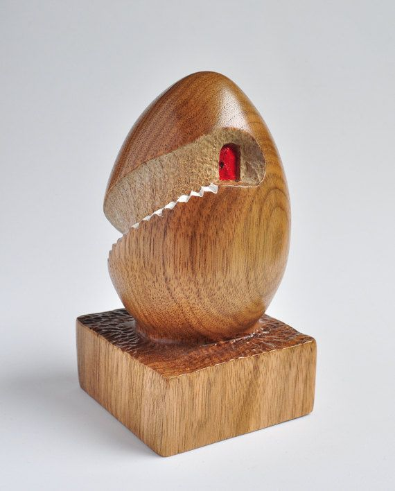 Modern art egg hand carved in butternut wood by