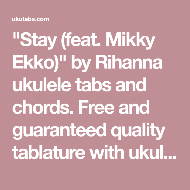 Stay (feat. Mikky Ekko)\