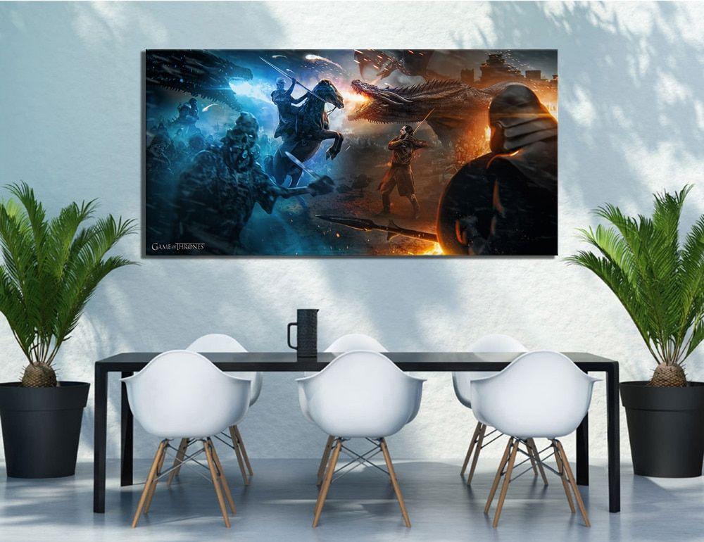 Game of Thrones Night King Print Art Canvas Poster Framed Wall Art Artwork
