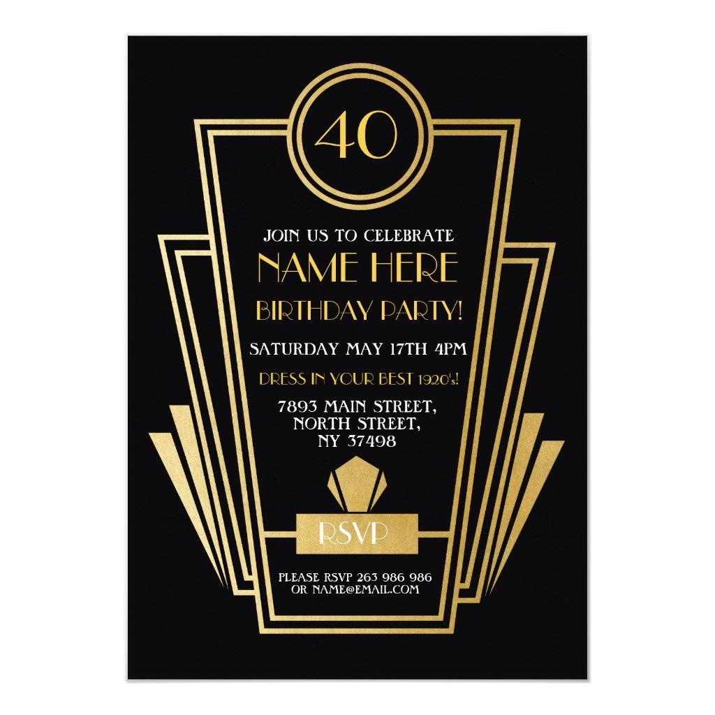 1920's Art Deco Birthday Invite Gatsby Party Gold | Deco wedding invitations,  1920s art deco, Art deco wedding invitations