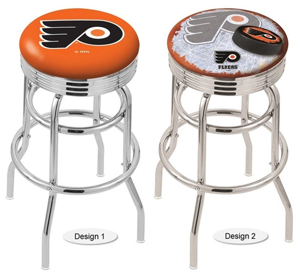 Philadelphia Flyers Nhl Orange Retro Chrome Ribbed Ring Bar Stool