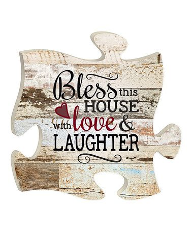 Puzzle Piece Wall Decor p. graham dunn wood 'bless' puzzle piece wall décor | zulily!, on